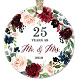 "2018 Christmas Ornament Milestone 25th Wedding Anniversary Gift Mr. & Mrs. Couple Married Twenty-Five 25 Years Beautiful Ceramic Holiday Keepsake Present Porcelain 3"" Flat with Gold Ribbon Free Box"