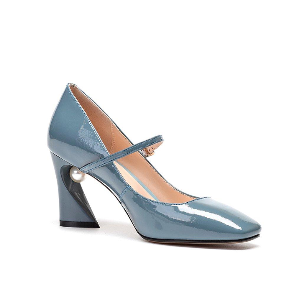 YUBIN Frühling Jugend Schuhe Schnalle Schnalle Schnalle High Heels Weibliche Lackleder Schuhe Platz Kopf Wilde Flache Schuhe mit Einem Einzigen Weiblichen Schuhe (Farbe   Blau Größe   39) 933866