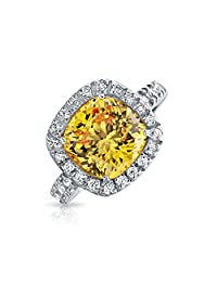 Bling Jewelry Simulated Canary CZ Cushion Cut Silver 3ct Engagement Ring