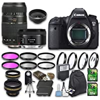 Canon EOS 6D DSLR Camera Bundle with Canon EF 50mm f/1.8 STM Lens + Tamron Zoom Telephoto AF 70-30mm Lens + Accessory Bundle