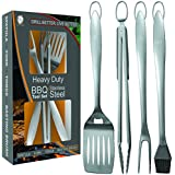Heavy Duty BBQ Grill Tools Set | Stainless Steel Spatula, Fork, Tongs, & Basting Brush | Barbecue Utensil Set For Grilling | Grill Accessories for Barbeque by Acorn Ridge|Perfect Grill Gift