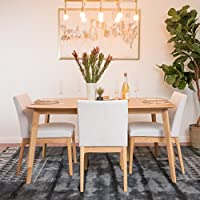 Katherine Light Beige Fabric/ Natural Oak Finish 60 Rectangular 5 Piece Dining Set