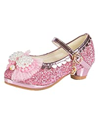 Bumud Little Girl's Bow Glitter Mary Jane Mid Heel Sequin Pretty Sandal Dress Shoes with Buckle Strap