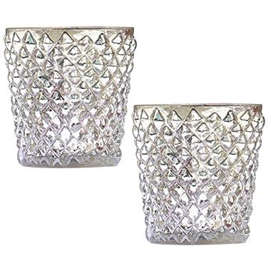 Sale Items - Mercury Glass Tealight Holders - SET of 2 Handmade Glass Tea Light Holder - Silver Votive Candle T Light Holders - Decorative Diamond Motifs - Home Decor