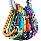 Wocst Aluminum Carabiner D-Ring Key Chain Clip Spring Clip Lock Carabiner Hook Outdoor Camping Equipment(10 Pcs)