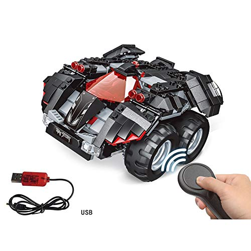 KNOSSOS 2.4G 4H USB Charging Building Block DIY Electric Superheroes RC Car Model(nero)
