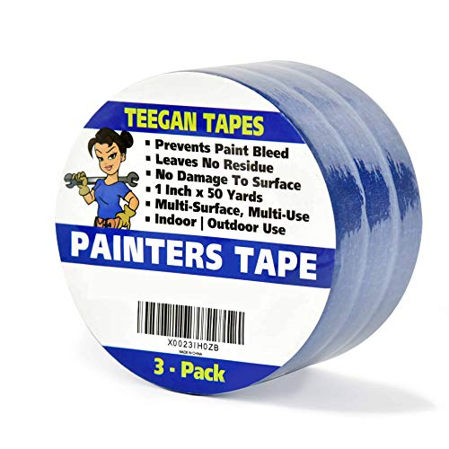Painters Tape, 3Pack, 1 Inch x 50 Yards, Leaves No Residue, Prevents Paint Bleed, Wall Safe, Excellent Quality MultiPack.