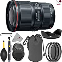Canon EF 16-35mm f/4L IS USM Lens Black (9518B002) USA - Full Accessory Basic Lens Bundle Package Deal