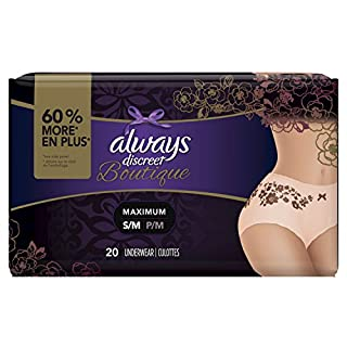 Always Discreet Boutique Incontinence & Postpartum Underwear for Women, Peach, Small/Medium, 20 Count, Maximum Protection, Disposable (20 Count)