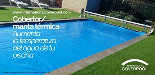 International Cover Pool Couvertures renfort thermiques 2 X 10 mètres avec renfort Couvertures en tout le contour (mousse/épaisseur avec orillo dans tout le contour) 600 microns piscine e33e42