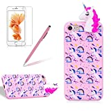 for Apple iPhone 7/8 Phone Case,Girlyard New Fashion Girly Lucky 3D Cute [Papa Animal Pattern] Soft Silicone Practical Shockproof Slim Protective Back Case Cover for iPhone 7/8-Pink Rainbow Horse