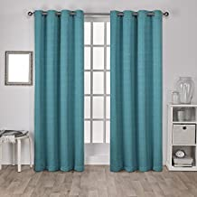 Exclusive Home Curtains Virenze Faux Silk Grommet Top Window Curtain Panel Pair, Teal, 54x96