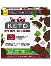 Slim-Fast Keto Bomb Snacks, 14x17g Mint Chocolate Cups Per Box, 238 Grams, Mint Chocolate Cup, 238 Grams