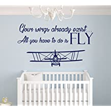 "Your Wings Already Exist, All You Have To Do Is Fly Quote - Airplane Series - Baby Boy Decoration - Mural Wall Decal Sticker For Home Interior Decoration Car Laptop (AM) (Wide 40"" x 22"" Height)"