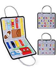 LITTLEFUN Montessori Busy Board (14 Basic Life Skills) Sensory Travel Toys Learning Activities for Toddlers Girls Boys - The Most Popular Gift