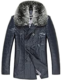 "<span class=""a-offscreen"">[Sponsored]</span>Men's Leather Down Quilted Jacket With Fur Collar CW806105"