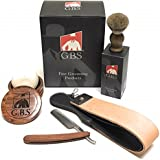 """GBS Men's Vintage Professional Wood Shaving set- Gift Boxed, Wood Shave Soap Bowl, 5/8"""" Carbon Steel Wood Handle Straight Razor, Badger Hair Shave Brush with Leather Strop Ultimate Gift for Men"""