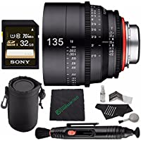 Rokinon Xeen 135mm T2.2 Lens with Nikon F Mount MFR # XN135N + Sony 32GB UHS-I SDHC Memory Card (Class 10) + Cleaning Cloth + Lens Pen Cleaner + 5 piece Lens Cleaning Kit + SLR Lens Pouch Bundle