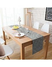 Homcomodar Table Runners Washable Woven Vinyl Table Runner for Kitchen Table 30x180cm (Grey)