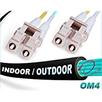 150M OM4 LC LC Fiber Patch Cable | Indoor/Outdoor 100Gb Duplex 50/125 LC to LC Multimode Jumper 150 Meter (492.12ft) | Length Options: 0.5M-300M | FiberCablesDirect - Made In USA | ofnr lc-lc mmf cord