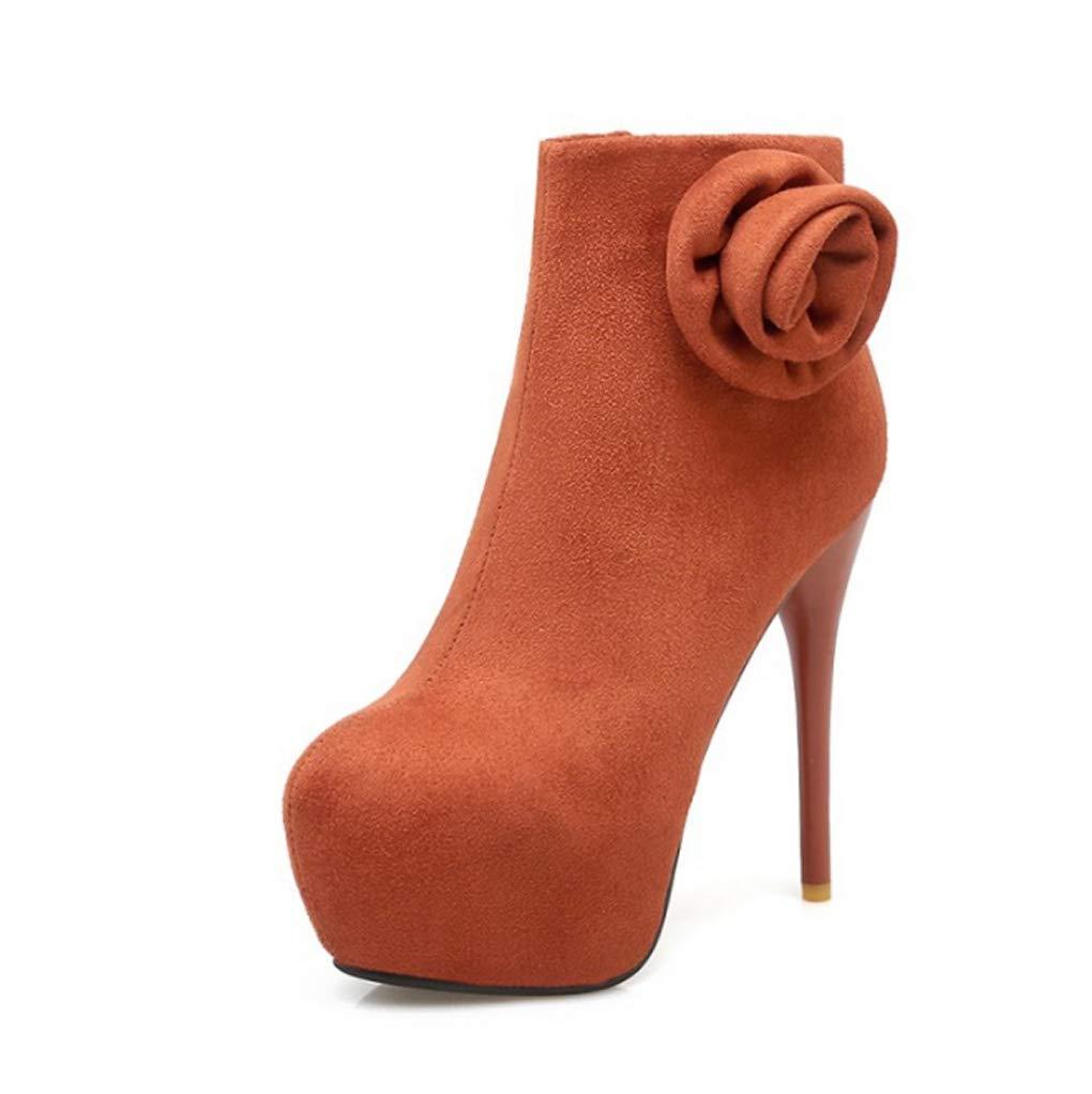 Zrf angenehm Rutschfest Herbst und Winter Kurze Stiefel warm Sexy dünne Ferse Brautschuhe widerstandsfähig warm Stiefel (Farbe   Erdiges Gelb größe   40) b343a2