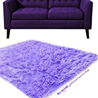 Super Soft Shag Style Area Rug 4x6 - Plush Light Purple Faux Fur - Rectangle - Designer Carpets by Fur Accents USA (4x6)