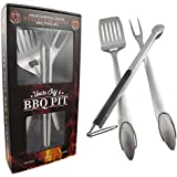 """Heavy Duty BBQ Grilling Tools Set - Professional Grade 18"""" Long Stainless Steel 3-Piece Barbecue Grill Kit includes Over Sized Spatula, Fork and Locking Tongs - Perfect Gift From Uncle Jeff's BBQ Pit"""
