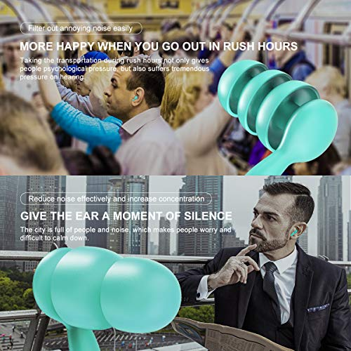 2 Pairs Soft Silicone Ear Plugs Noise Reduction,Earplugs for Sleeping Swimming,Waterproof Reusable Ear Plugs with Organizer(Blue)