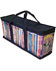 Made Easy Kit Clear Media Storage Bag Compatible with DVDs, Blu-Rays, Video Game Cases, VHS (40 DVD Capacity) with Dividers