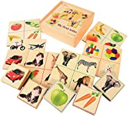 Constructive Playthings Full Color Real-Photos Wood Photo Lotto with Storage Box for Ages 12 Months and Up, 31