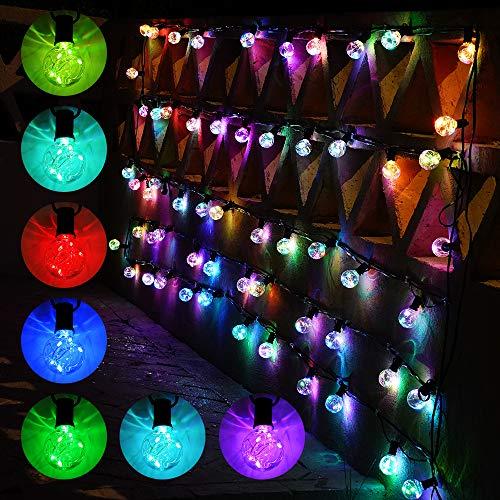 Ollny - Cadena de luces LED para exteriores, 50 pies, grado comercial, impermeables, 32 RGB, bombillas G40 que cambian de color, enchufe con control remoto para café, patio, bistró, jardín, pérgola, luces decorativas