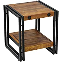 Cortesi Home Penni End Table, Solid Wood with Black Metal Frame