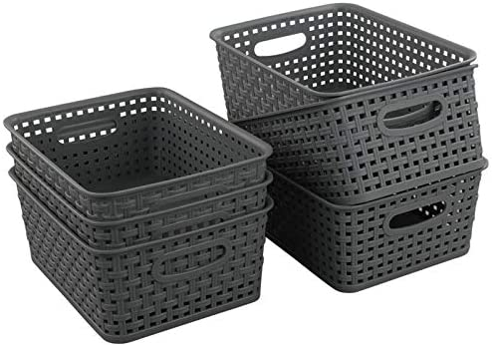 "Teyyvn Plastic Storage Basket, 10.03"" x 7.59"" x 4.09"", Pack of 6, Gray"