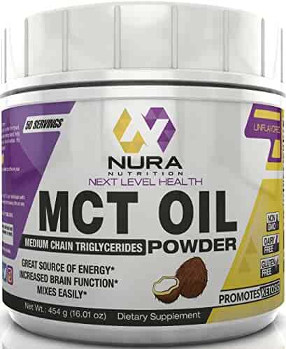 MCT Oil Powder - 50 Servings of Unflavored Pure Medium Chain Triglyceride Powder - 100% from Coconuts - Great For Keto and Paleo Diets - Easy Ketosis - Non-GMO, Gluten Free, Energy, Mental Clarity