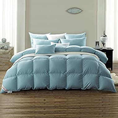 Snowman Luxurious Light Weight White Goose Down Comforter King Size ,100% Cotton Cover Down Proof Blue