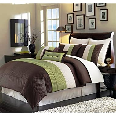 8 Piece Green Brown Beige Regatta QUEEN Comforter Set with accent pillows