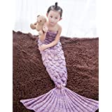 COUTUDI Little Princess Girls Mermaid Tail Blanket Dress Up Costume Snuggie Couverture (lavender)
