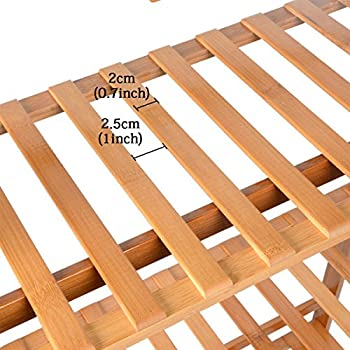 Saim Natural Bamboo Wood Ladder Plant Stand 4-Tier Foldable Flower Display Shelf Rack for Home Patio Lawn Garden Balcony