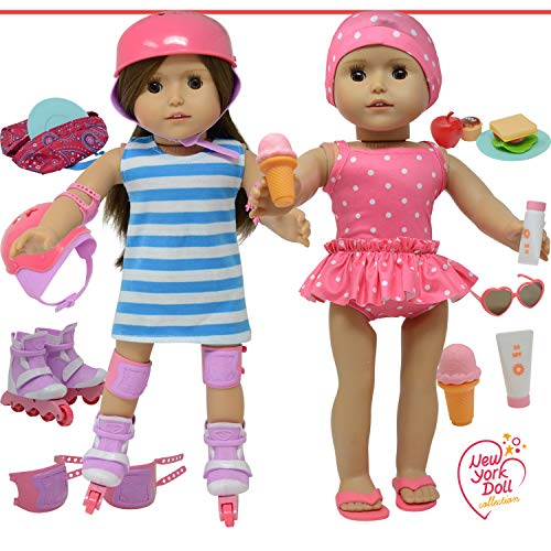 """Image of The New York Doll Collection Doll Roller Skates -18"""" Doll"""