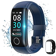 Fitness Tracker with Body Temperature Watch,Smart Watch with Blood Pressure Monitor Heart Rate Monitor Step Calorie Counter Sleep Monitor,Activity Tracker Pedometer for Kids Men Women (Blue+Black)