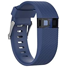 Watch Band, ABC Replacement Silicone Rubber Wrist Watch Band Strap for Fitbit Charge HR (Large) (Blue)