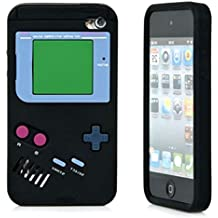 """iTitan Fresh Asphalt Black {Classic Game Boy} Soft and Smooth Silicone Cute 3D Fitted Bumper Gel Case for iPod 4 (4G) 4th Generation iTouch by Apple """"Durable and Slim Flexible Fashion Cover with Amazing and Creative Cartoon Design"""""""