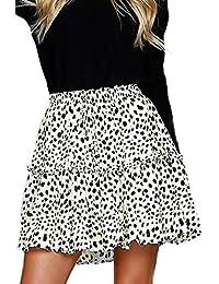 Women's Summer Cute High Waist Ruffle Skirt Floral Print Swing Beach Mini Skirt