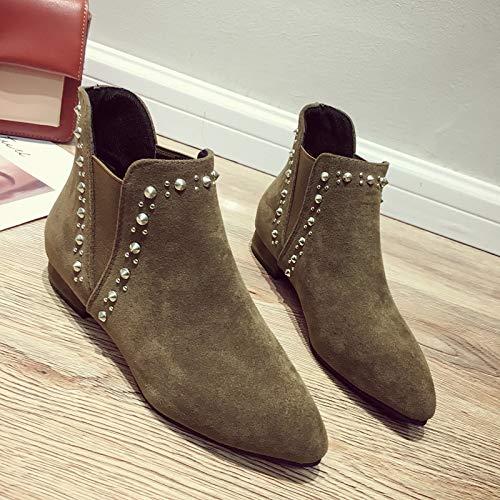 YMFIE Europäische Mode mit Chelsea-Stiefelies für Damen mit hohem Absatz und Wildleder-Stiefeletten