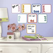 RoomMates RMK3043SCS Days of The Week Planner Dry Erase Peel and Stick Wall Decals, 8-Count