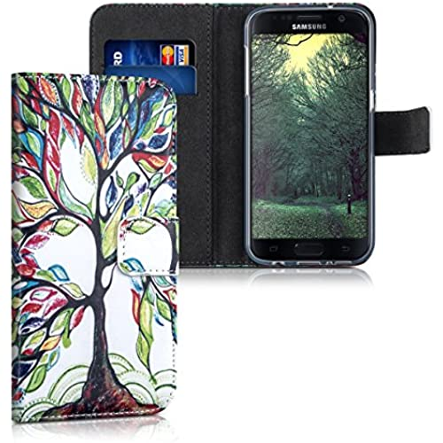 kwmobile Chic synthetic leather case for the Samsung Galaxy S7 with convenient stand function - Design colorful tree in multicolor green white Sales