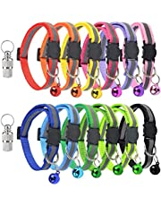 Yolyoo Reflective Breakaway ID Collars,Puppy ID Collars with Bell,Adjustable Soft Identification Safety Clasp Whelping Litter Collars for Kittens & Cats, Dogs Adjustable 20-30cm