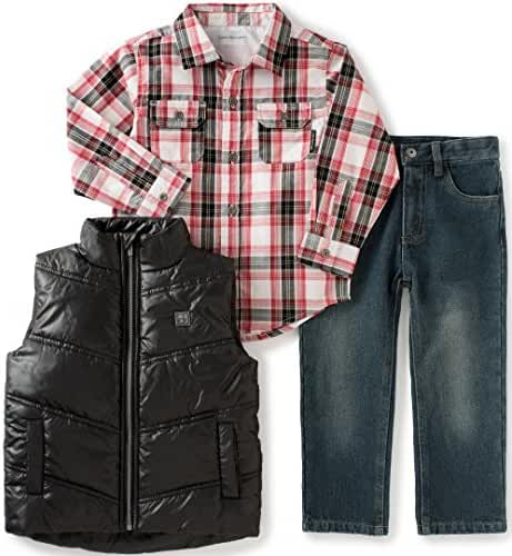 Calvin Klein Baby Boys' Shirt, Vest Diagonal Quilt and Jean Set