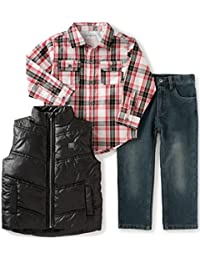 Calvin Klein Boys' Shirt, Vest Diagonal Quilt and Jean Set