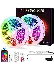COTOP 20M LED-strip, LE 5M RGB LED-stripset, 12V 300 LED-verlichting, RGB 5050 LED-strips, app-bediening sync met muziek, kerstboomverlichting, gaming-wanddecoratie, slaapkamer, feest, keuken, 2 rollen van 10M